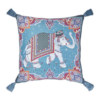 Hathi Right Facing Silk Tassel Pillow - 45x45cm - Turquoise