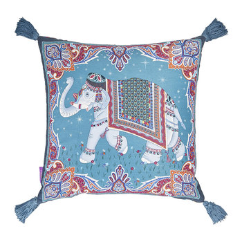 Hathi Left Facing Silk Tassel Pillow - 45x45cm - Turquoise