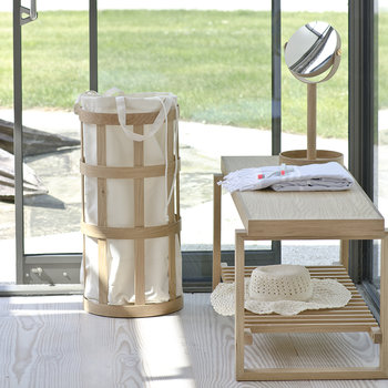 Cage Laundry Basket - Soft White/Oak