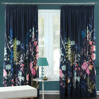 Peggy Midnight Pleat Curtains
