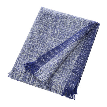 Red Cross X Ferm Living: Enfold Wool Blanket - Blue/White