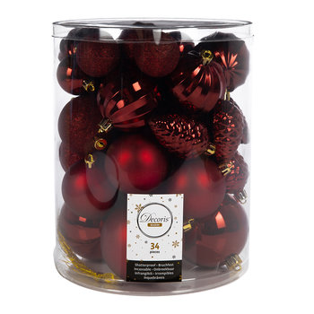 Set of 34 Assorted Baubles - Oxblood