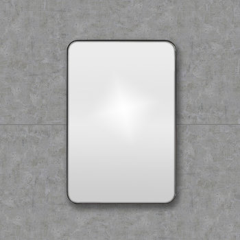 Rectangular Framed Mirror with Rounded Corners - 50x75cm - Black
