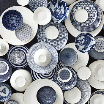Nippon Blue Pasta Plate - Lines