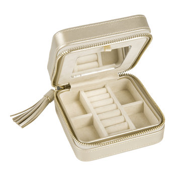 Caroline Zip Travel Jewelry Case - Champagne