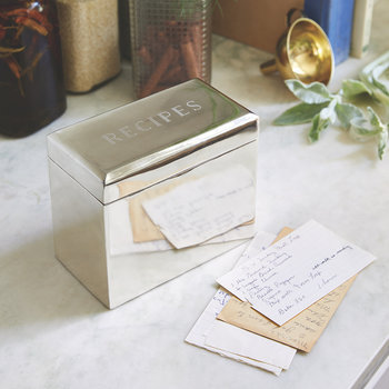 Bevelled Recipe Box - Brass