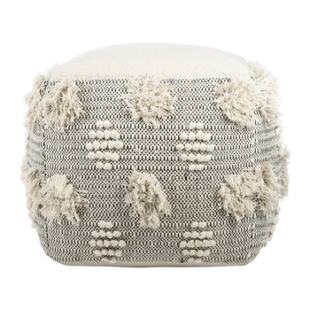 Woodstock Tasseled Pouf - Square