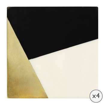 Ritz Coasters - Set of 4 - Black/White/Gold