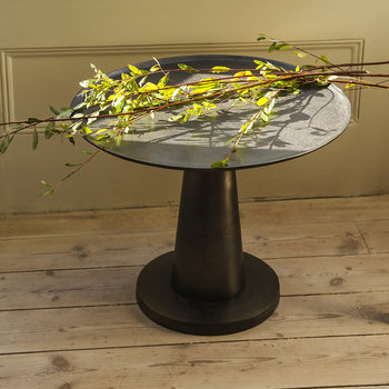 Cone Base Side Table - Black Nickel