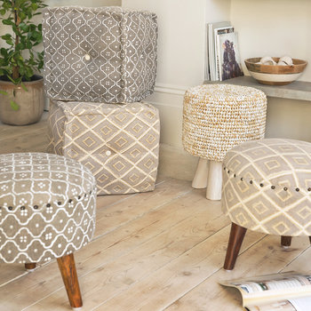 Printed Tile Round Stool - Grey/White