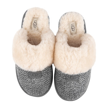 Bequeme Damen-Slipper, Strick - Anthrazitgrau