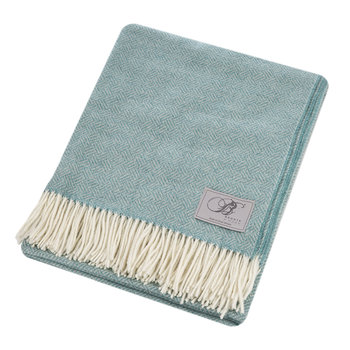 Parquet Merino Lambswool Throw - Aqua