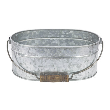 Oval Galvanised Planter with Handle