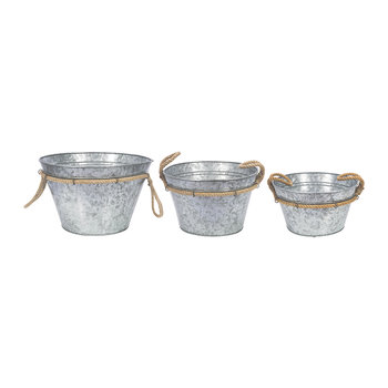 Galvanised Planters with Rope Handles - Set of 3