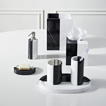 Canaan Tissue Box - Black/White Marble
