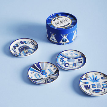 Druggist Coaster Set - Multi Blue