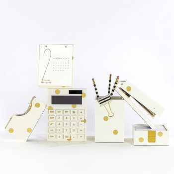 Cream and Gold Dot Note Holder