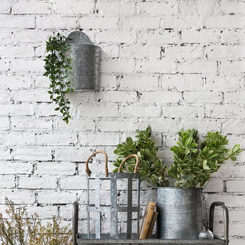 Galvanized Semi Circle Wall Planters - Set of 3