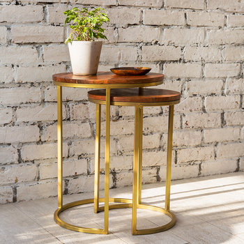 Tables d'Appoint Gigognes en Bois - Rond - Lot de 2