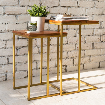 Tables d'Appoint Gigognes en Bois - Carré - Lot de 2