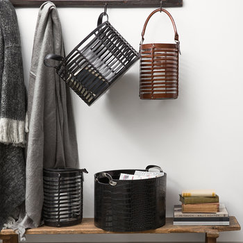 Black Croc Leather Storage Basket