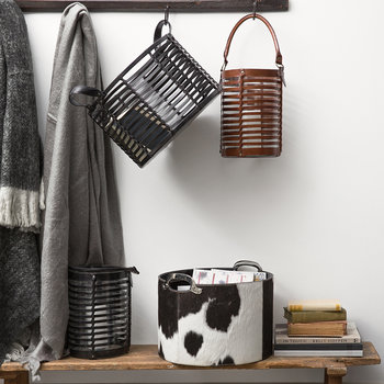 Cowhide Storage Basket
