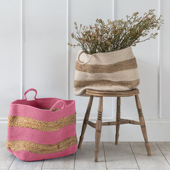 Knitted Jute Striped Basket - Pink/Natural