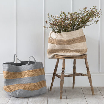 Knitted Jute Striped Basket - Grey/Natural