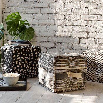 Printed Stripe Cube Pouf - Gray/Natural