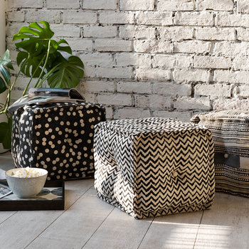 Printed Zigzag Cube Pouf - Natural/Black