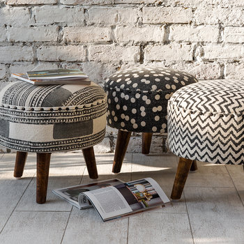 Printed Zigzag Round Stool - Natural/Black