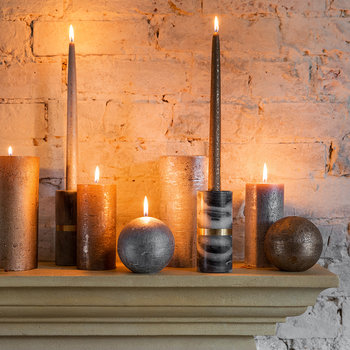 Rustic Metal Spherical Candle - Silver