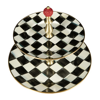 Courtly Check Enamel Cake Stand - 2 Tier