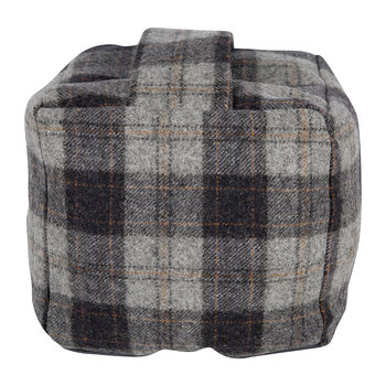 Tweed Cube Door Stop - Navy/Silver Check