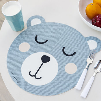 Bear Face Vinyl Placemat - Grey