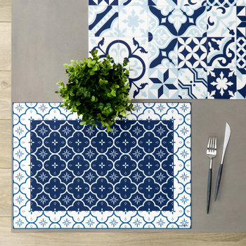 Small Ceramic Tiles Vinyl Placemat - Blue