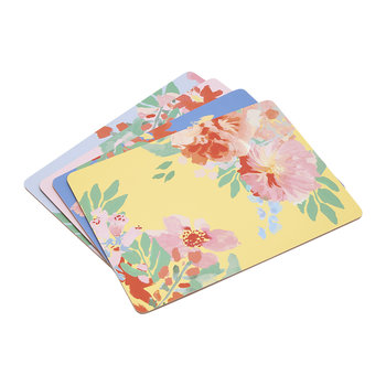 Hollyhock Meadow Blue Floral Placemats - Set of 4