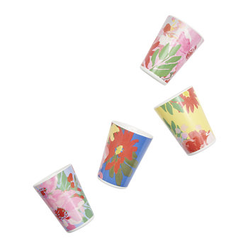 Hollyhock Meadow Garden Cups - Set of 4 - Blue Floral