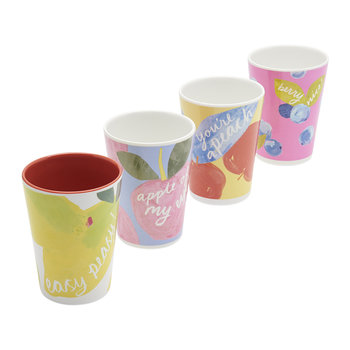 Hollyhock Meadow Garden Cups - Set of 4 - Yellow Floral