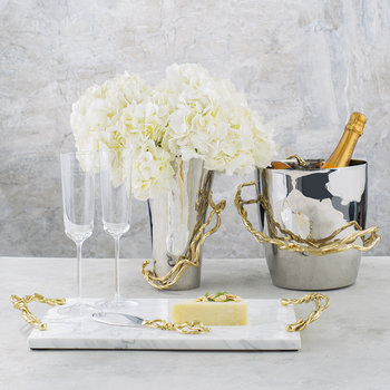 Wisteria Gold Cheese Board with Knife