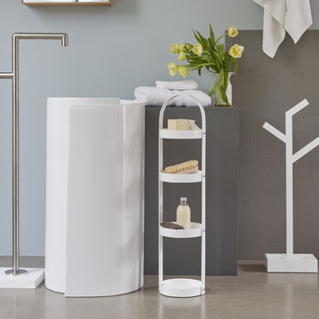 4 Tier Bathroom Round Caddy - Gloss White