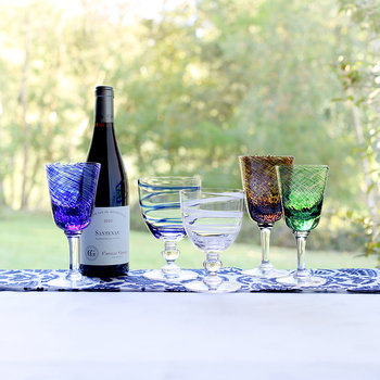 Bella Blue Wine Glass