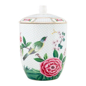 Blushing Birds Storage Jar - White