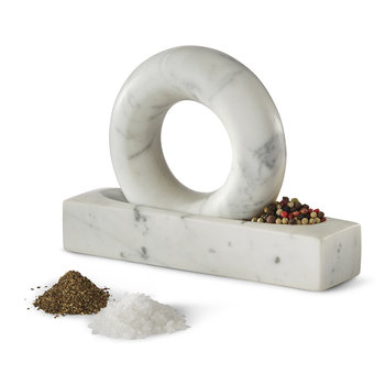 Tondo Mortar and Pestle - Gray/White