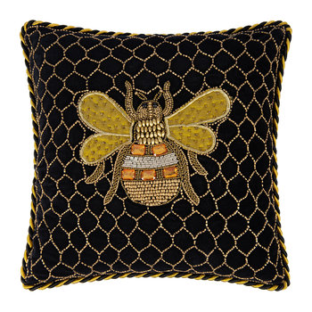 Velvet Queen Bee Pillow - 35x35cm