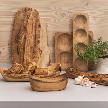 Rustic Wood Serving Bowl - Large