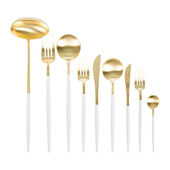Goa Cutlery Set - 75 Piece - White/Gold