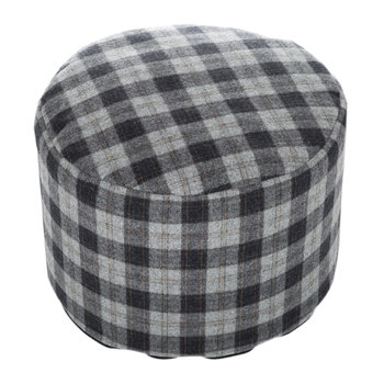 Tweed Pouf - 45x30cm - Navy Silver Check/Denim