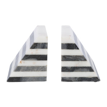Black & white Striped Marble Bookends - Set of 2