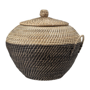 Rattan Lidded Basket - Natural/Black